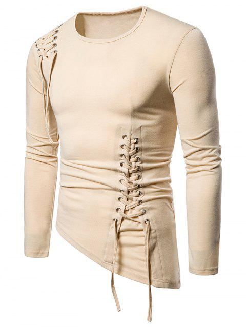 Solid Color Lace-up Long Sleeves T-shirt - KHAKI L
