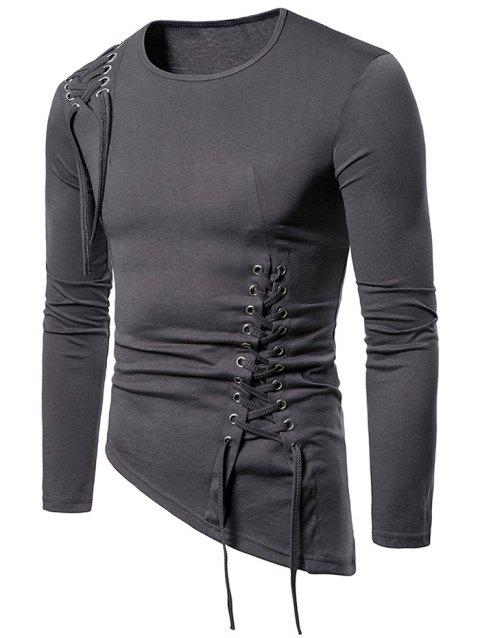 Solid Color Lace-up Long Sleeves T-shirt - DARK GRAY S