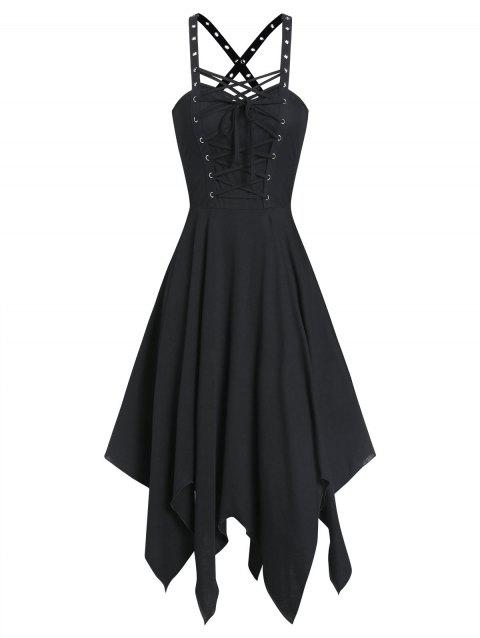 Sleeveless Lace-up Front Grommet Handkerchief Gothic Dress - BLACK XL