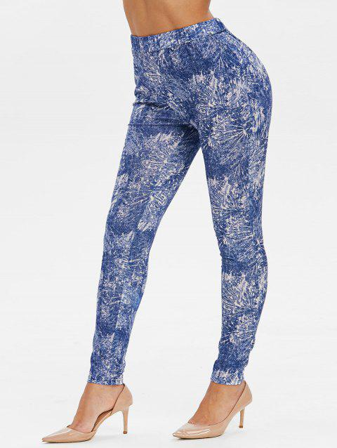 High Waisted Tie Dye Skinny Pants - OCEAN BLUE M