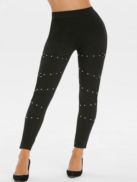 Studded O Ring Skinny High Rise Pants - BLACK M