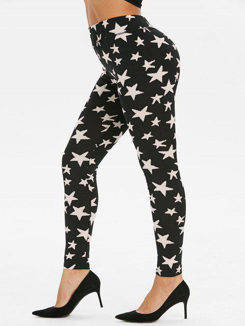 High Waisted Starfish Print Leggings - BLACK 2XL