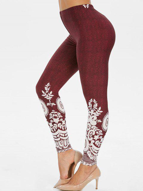 High Waist Floral Print Skinny Leggings - RED WINE 2XL