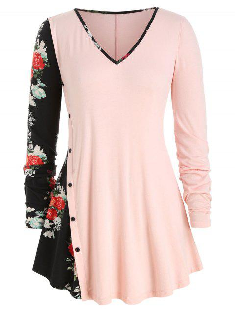 Mock Button Floral Panel Plus Size Long Sleeve Top - PINK 4X