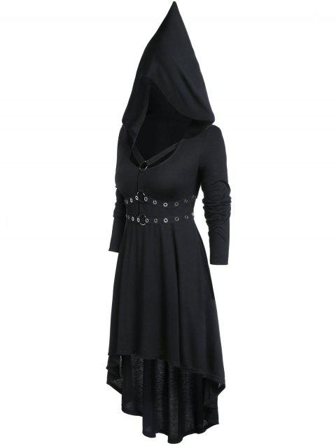 Plus Size Hooded Gothic High Low Solid Dress - BLACK 5X