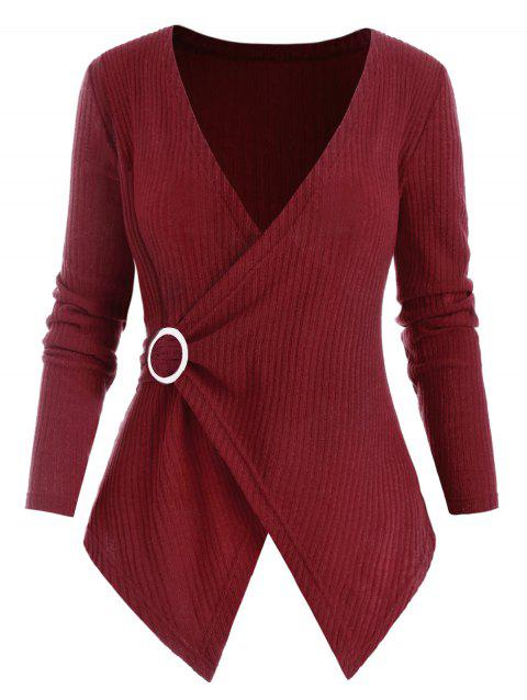 Ribbed O Ring Handkerchief Plus Size Knitwear - RED WINE 1X