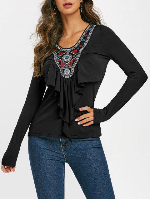 Embroidered Patched Ruffles Scoop Neck Tee