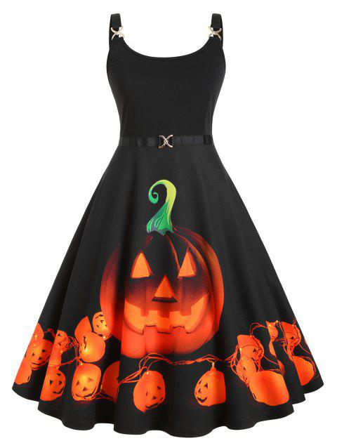 Pumpkin Print Halloween Straps Plus Size Dress - BLACK 3X