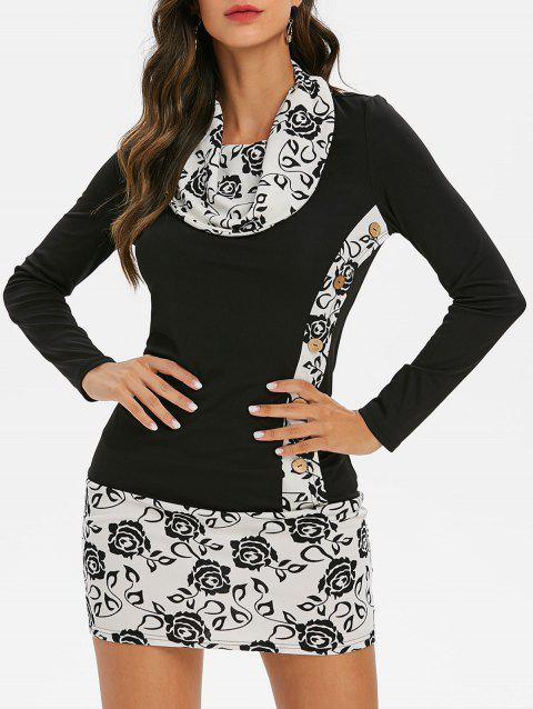 Flower Print Button Embellished Longline T-shirt - BLACK 2XL