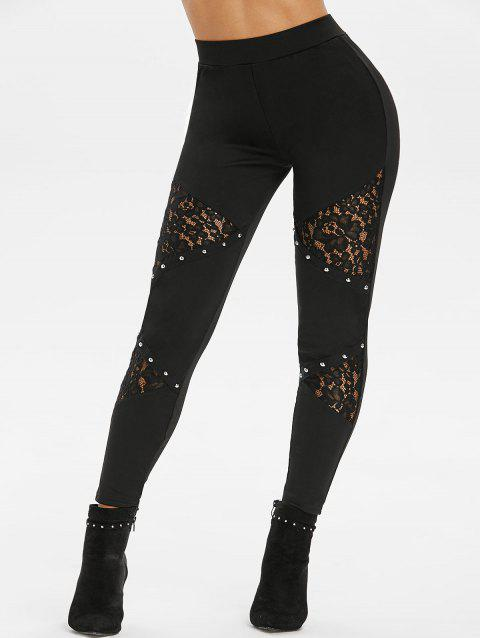 Studded Flower Lace High Waisted Pants - BLACK S