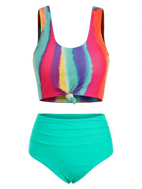 Tie Dye Knotted Ruched Tankini Swimsuit
