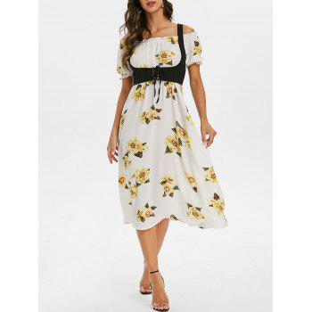 ditsy print off the shoulder a line dress with solid top