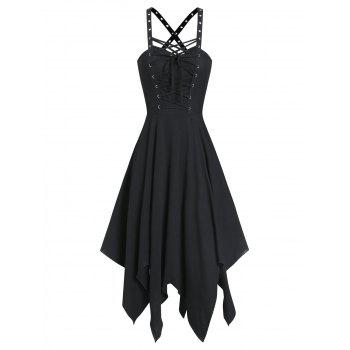 Sleeveless Lace-up Front Grommet Handkerchief Gothic Dress