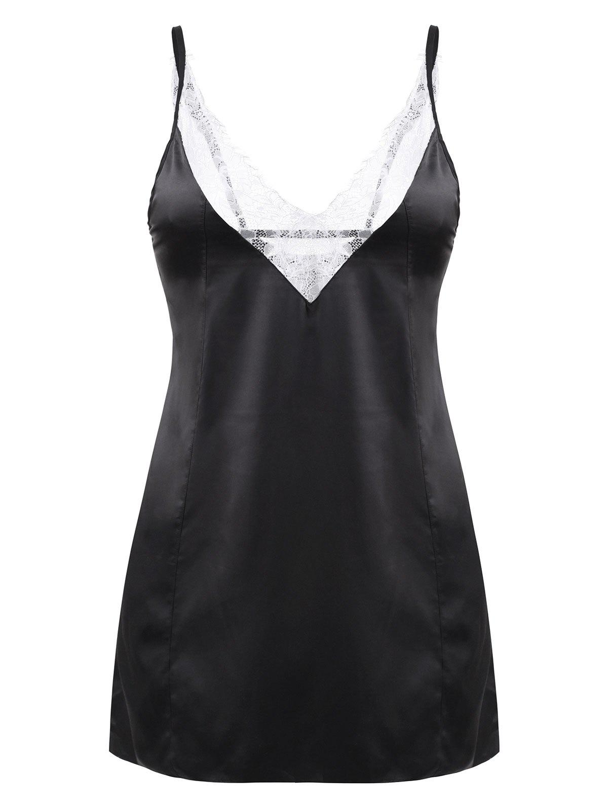 Lace Panel Satin Plus Size Chemise - BLACK L