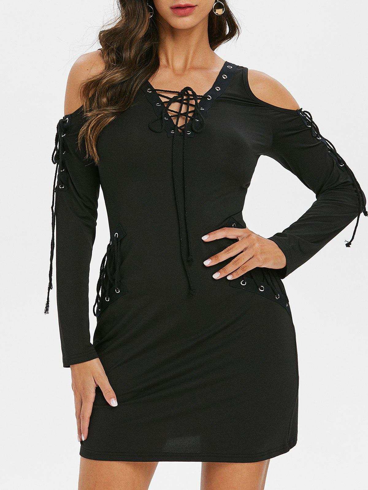 Lace Up Grommet Long Sleeve Bodycon Dress - BLACK XL