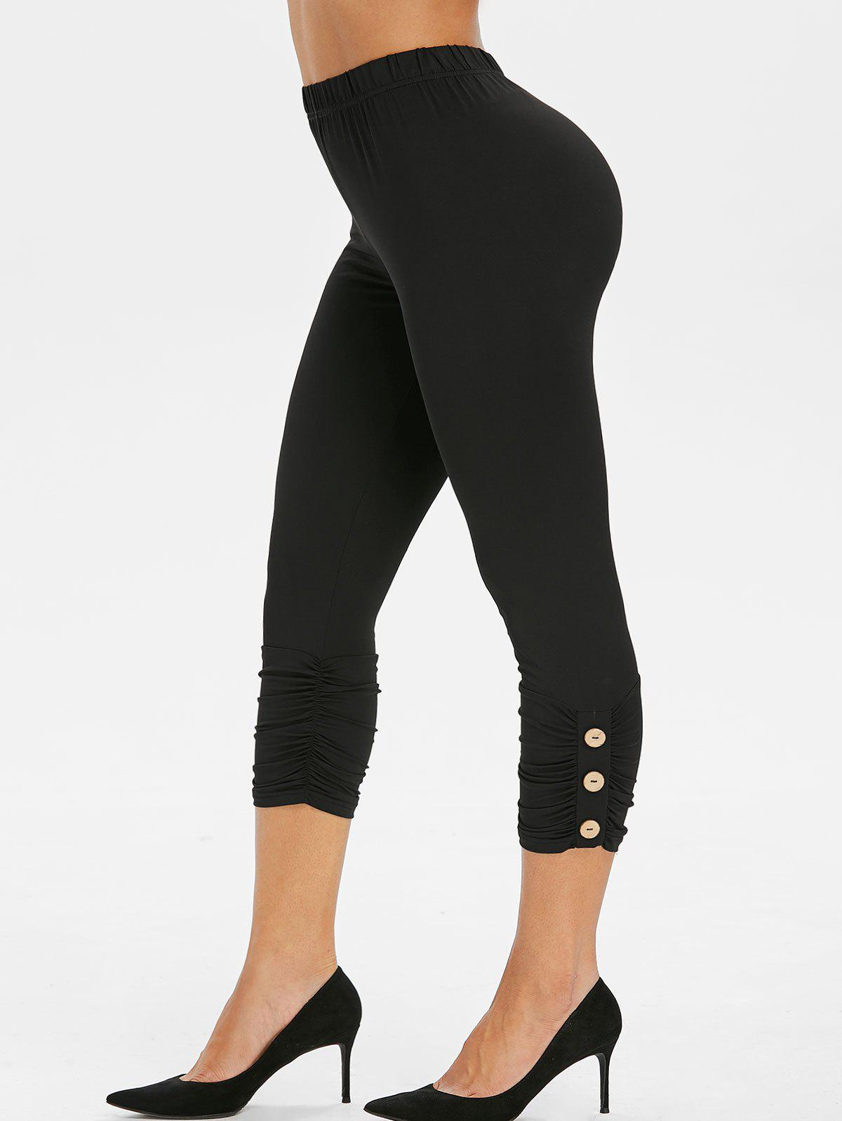High Rise Buttoned Ruched Cropped Leggings - BLACK S