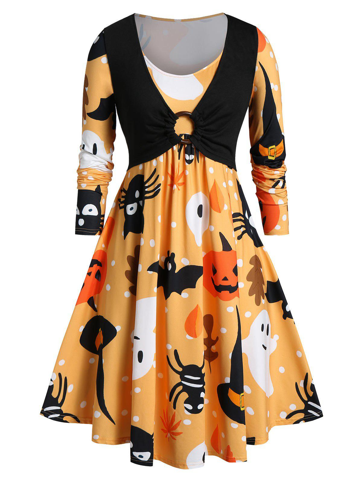 Plus Size Halloween Ghost Pumpkin Print Flare Dress - ORANGE L