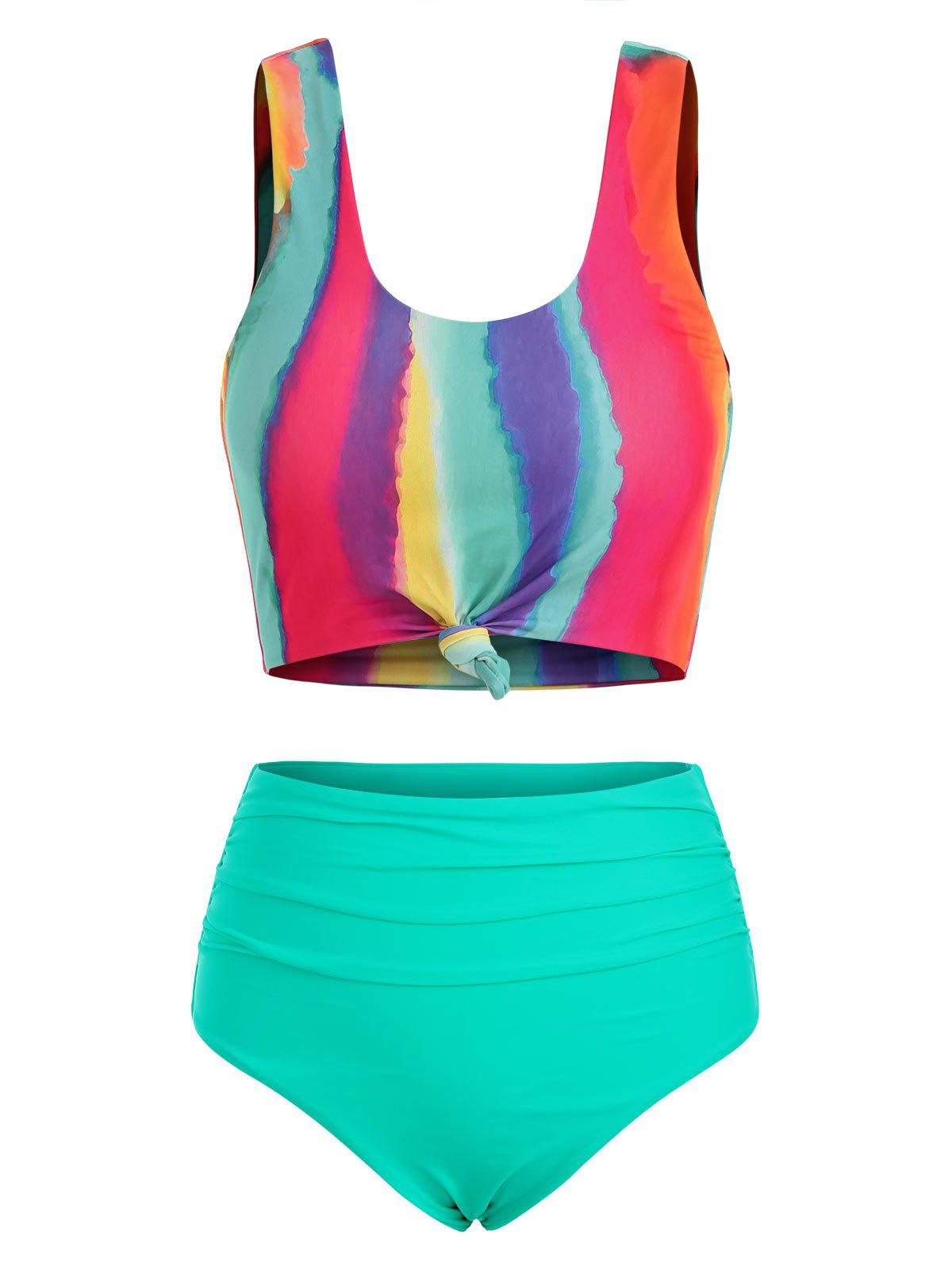 Tie Dye Knotted Ruched Tankini Swimsuit - multicolor M