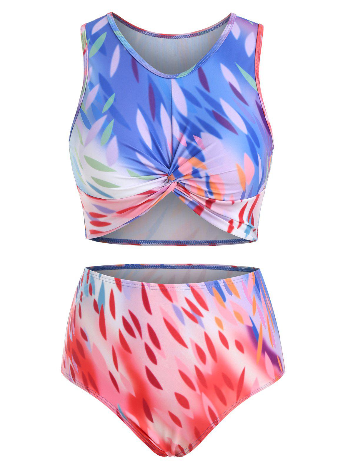 Leaves Ombre Twisted Scoop Neck Tankini Swimsuit - multicolor 2XL