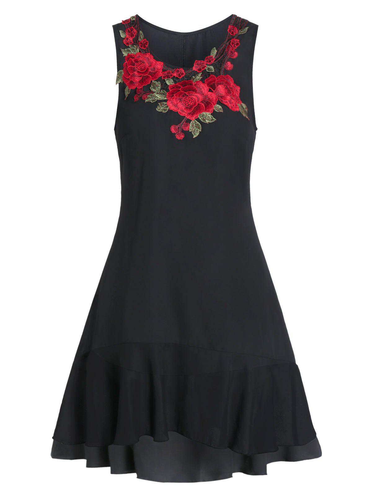 Embroidered A Line Round Collar Dress - BLACK M