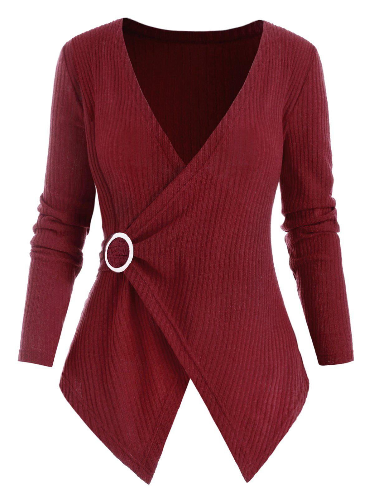 Ribbed O Ring Handkerchief Plus Size Knitwear - RED WINE 4X