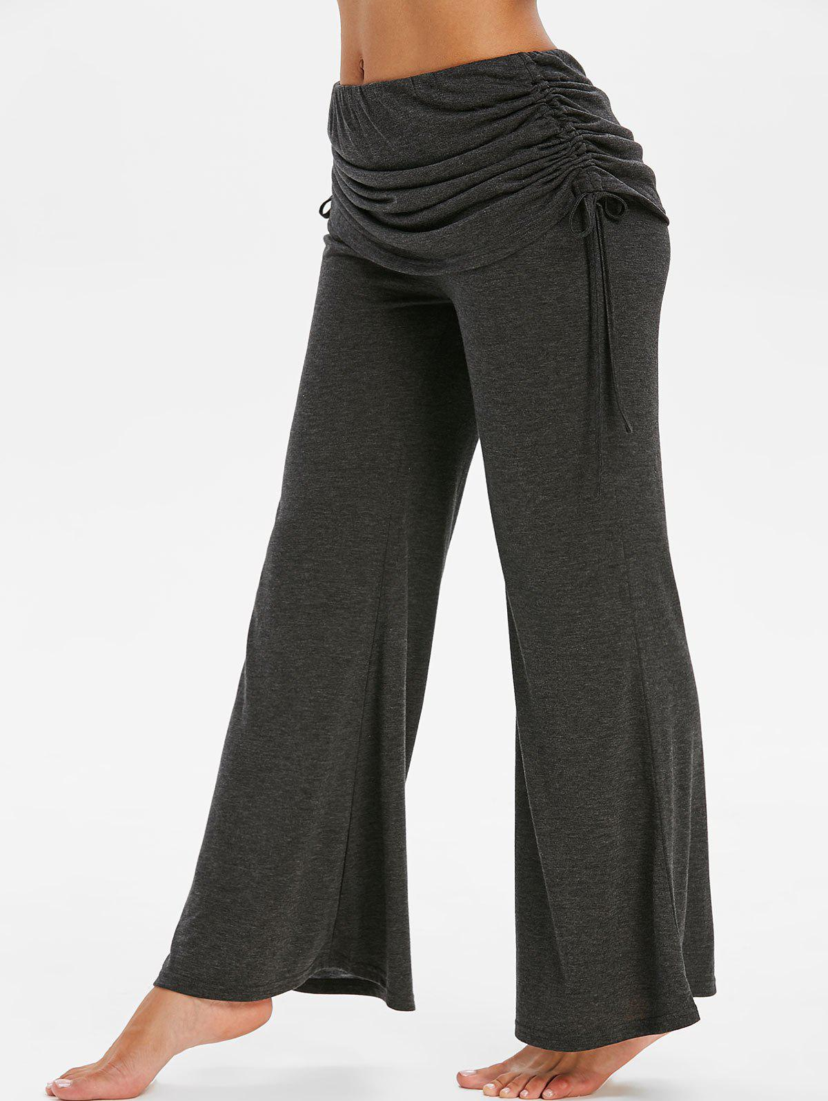 Space Dye Print Cinched Fold Over Flare Pants - DARK SLATE GREY M