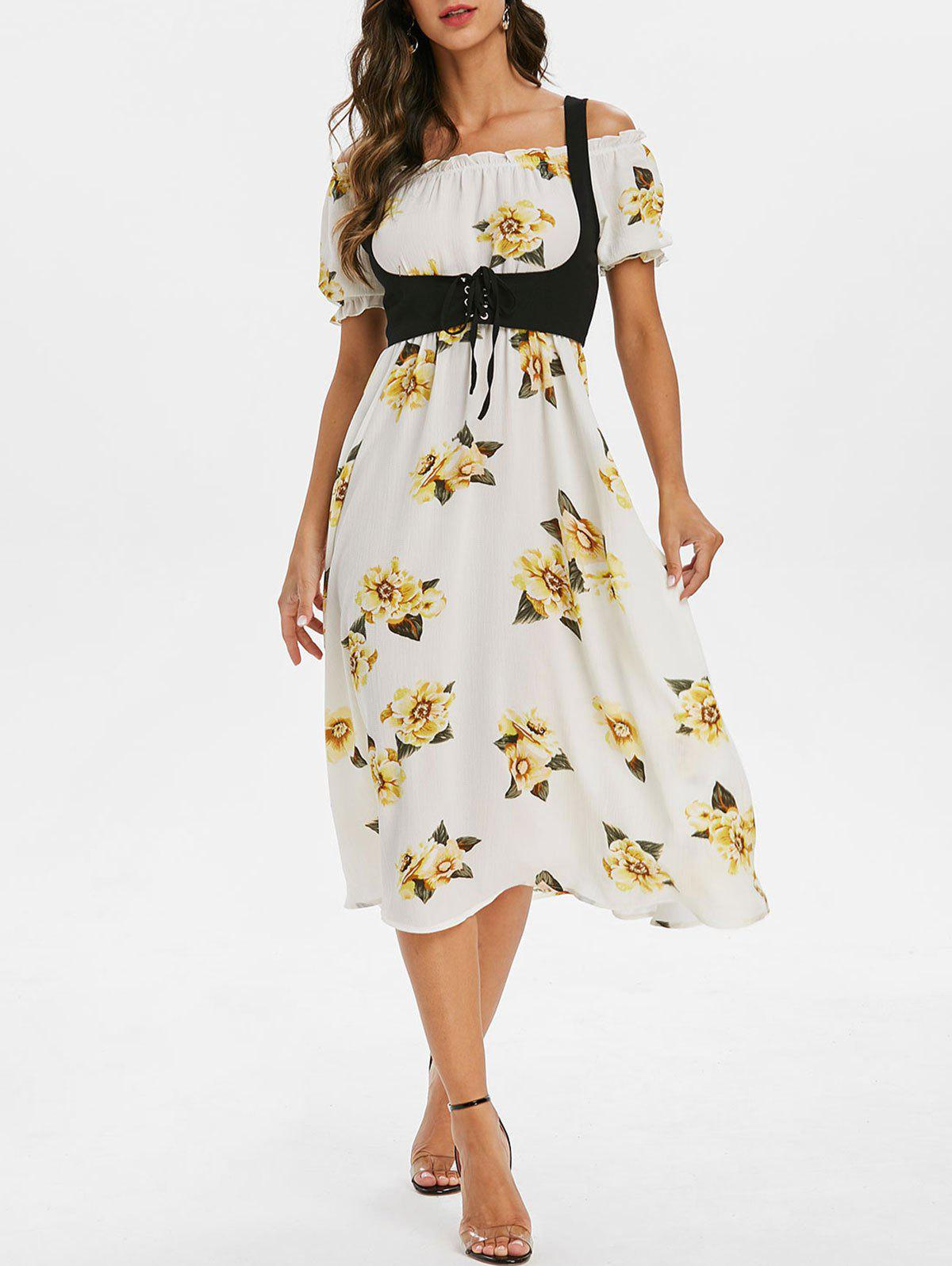 Ditsy Print Off The Shoulder A Line Dress with Solid Top - WARM WHITE L