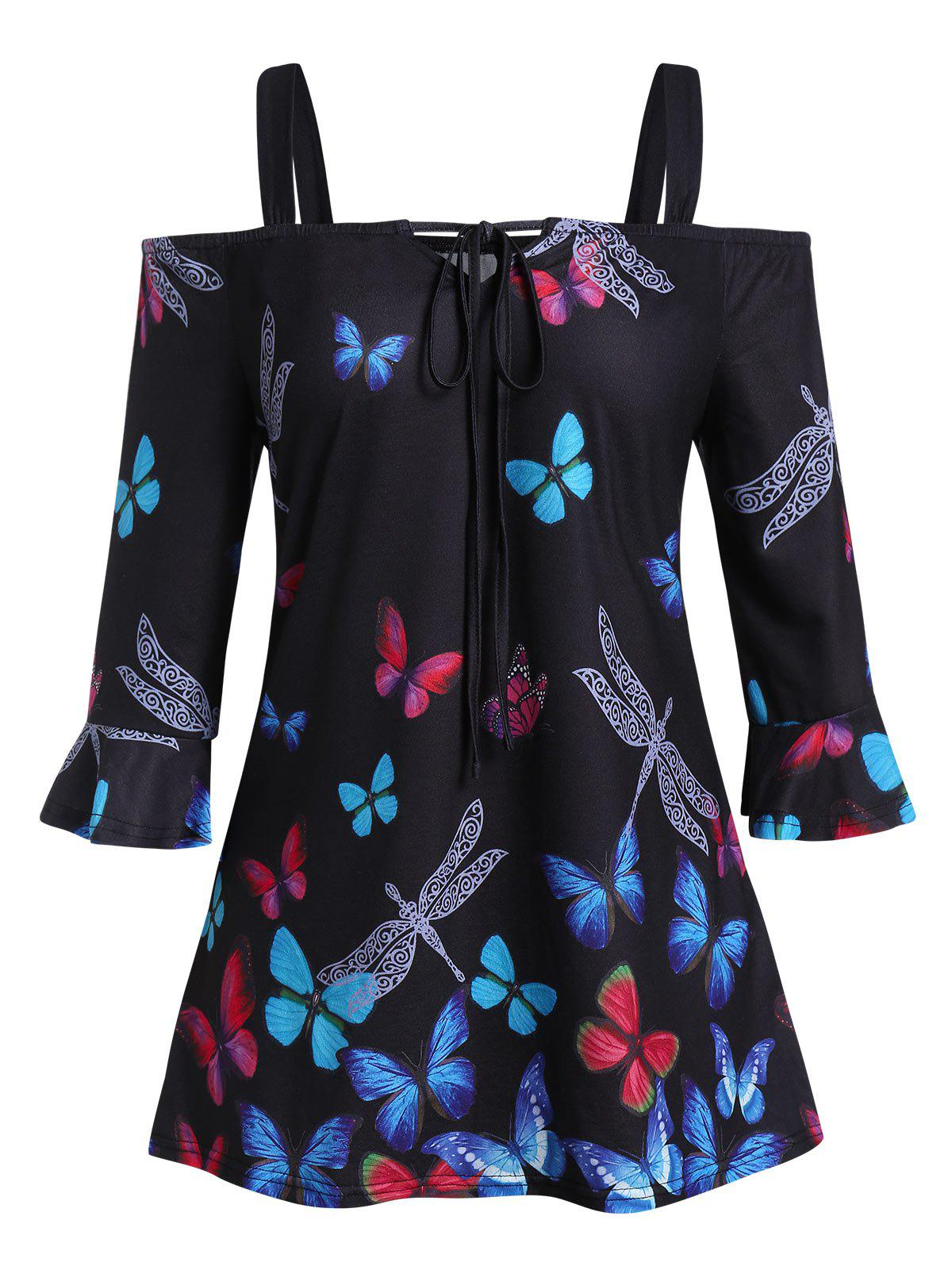 Plus Size Butterfly Dragonfly Print Open Shoulder Tee - BLACK 1X