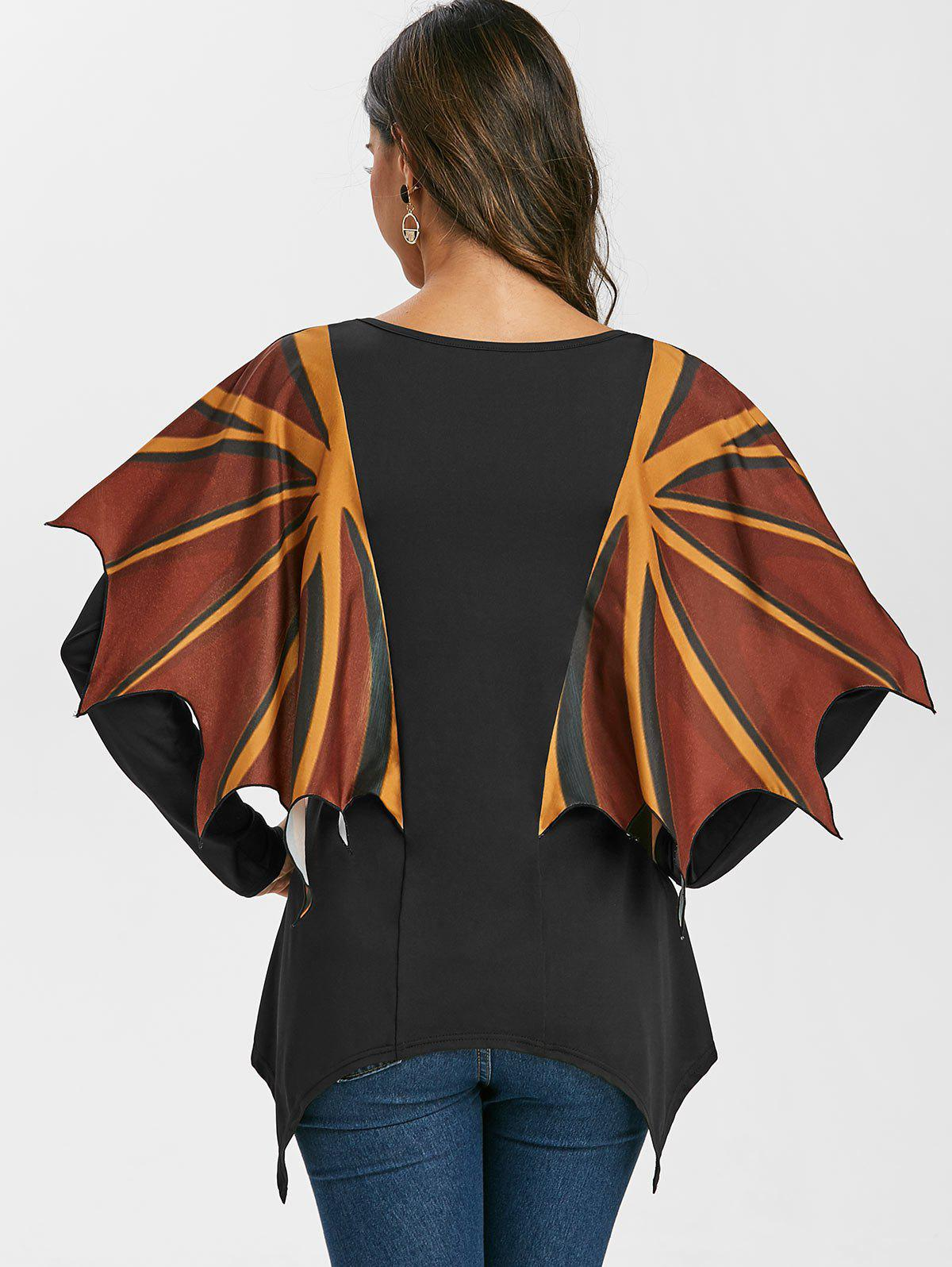 Asymmetric Long Sleee T Shirt with Wing