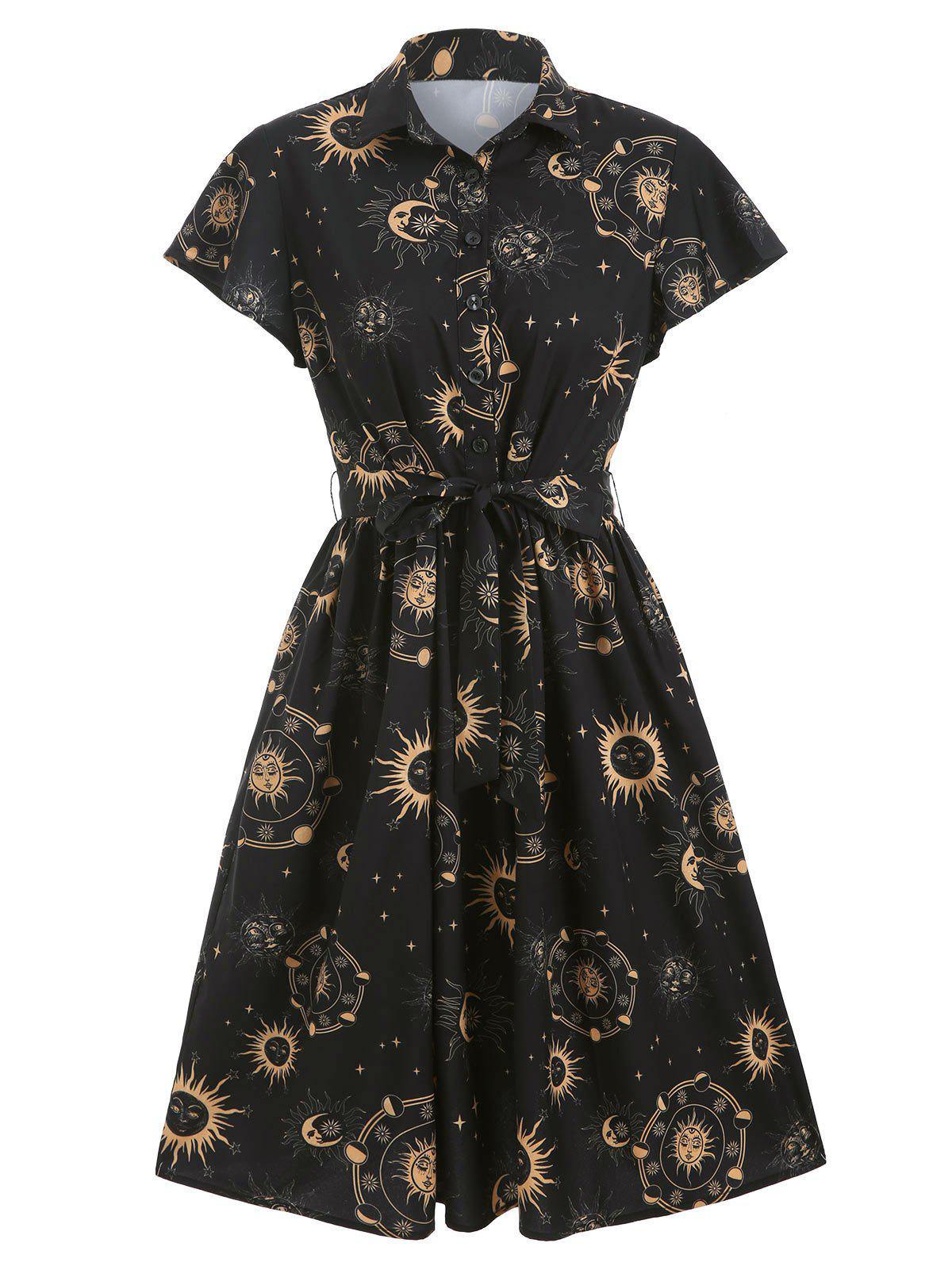 Sun Moon and Star Print Belted Button Dress - BLACK M