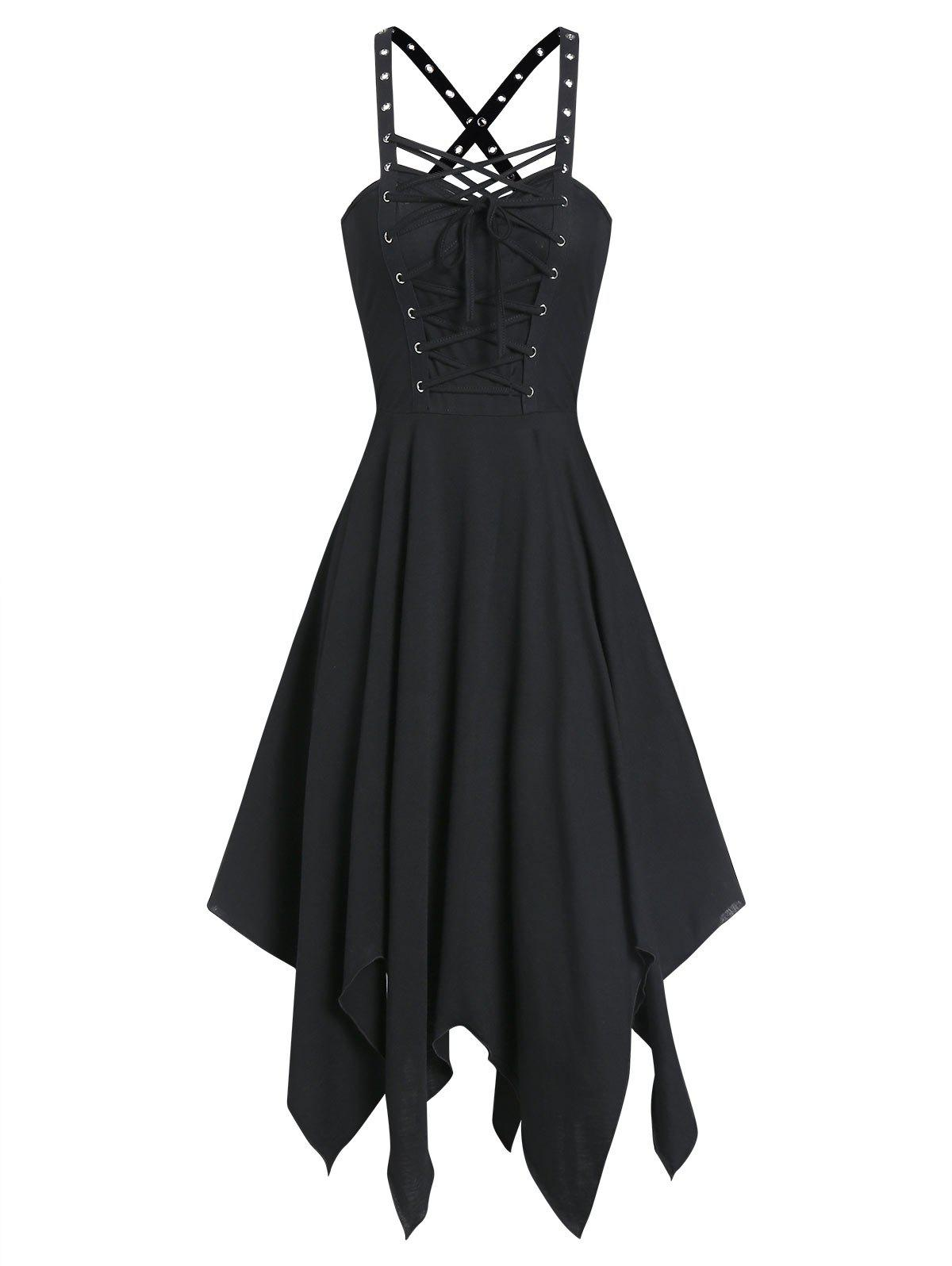 Sleeveless Lace-up Front Grommet Handkerchief Gothic Dress - BLACK 3XL