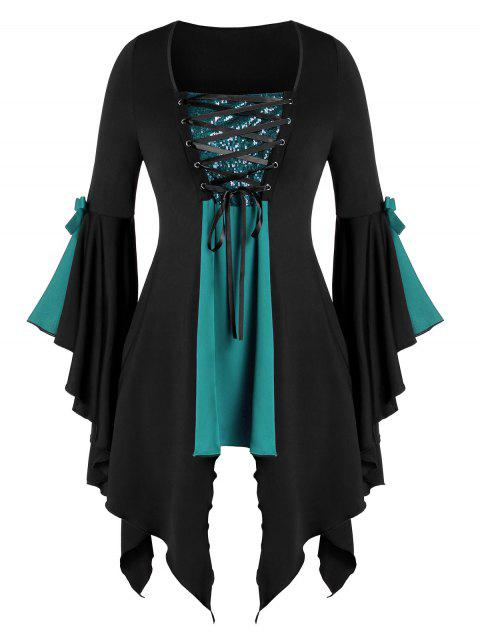 Plus Size Asymmetrical Sequined Lace Up Gothic Tunic Tee - multicolor B 2X