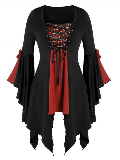 Plus Size Asymmetrical Sequined Lace Up Gothic Tunic Tee - multicolor C 2X