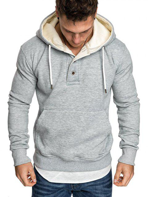 Button Front Kangaroo Pocket Fleece Hoodie - LIGHT GRAY XL