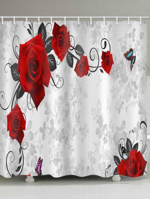 Rose Flower Vines and Butterfly Print Waterproof Bathroom Shower Curtain - multicolor W71 X L71 INCH