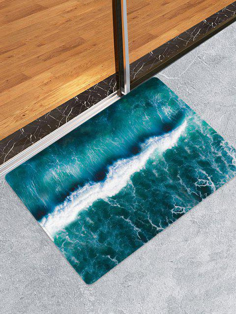Sea Wave 3D Print Floor Rug - PEACOCK BLUE W16 X L24 INCH