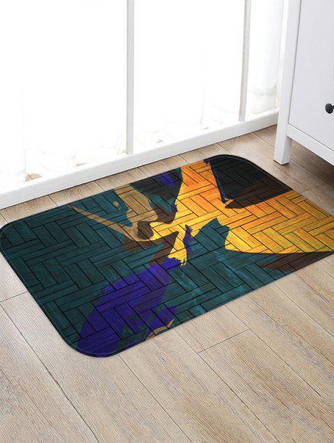 Abstract Wooden Pattern Floor Mat - SEA TURTLE GREEN W20 X L31.5 INCH