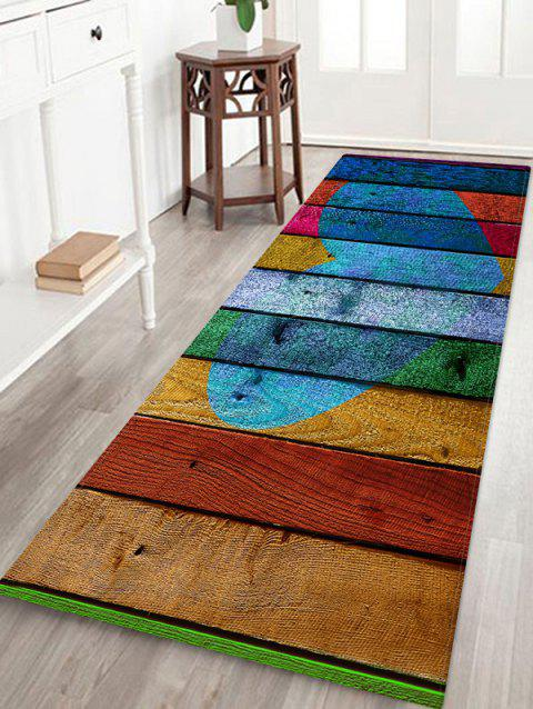 Heart Wooden Pattern Printed Floor Mat - multicolor L W24 X L71 INCH