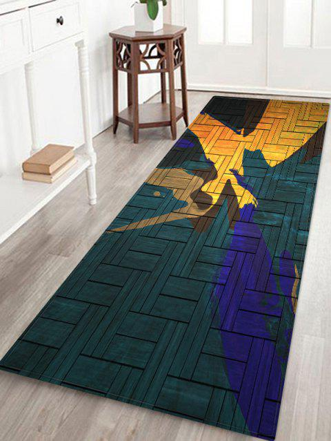 Abstract Wooden Pattern Floor Mat - SEA TURTLE GREEN W24 X L71 INCH