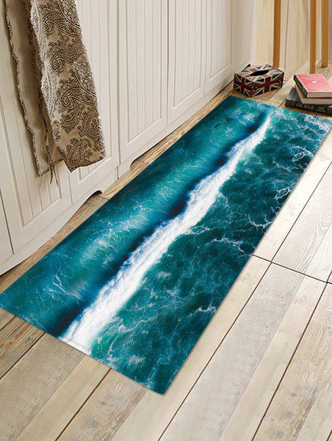 Sea Wave 3D Print Floor Rug - PEACOCK BLUE W24 X L71 INCH