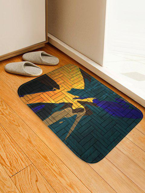 Abstract Wooden Pattern Floor Mat - SEA TURTLE GREEN W16 X L24 INCH