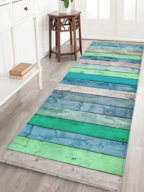 Vintage Wooden Pattern Printed Floor Mat - LIGHT BLUE W24 X L71 INCH