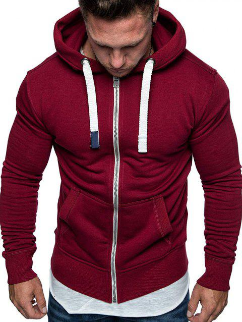 Drawstring Zip Up Pockets Fleece Hoodie - RED WINE M