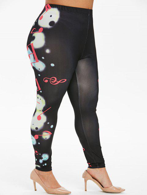 Plus Size High Waisted Musical Note Leggings - BLACK 4X