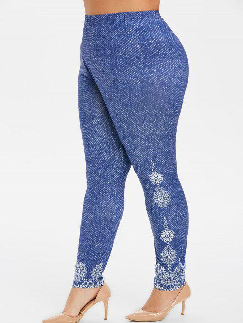 High Waisted Printed Plus Size Leggings - DEEP BLUE 4X