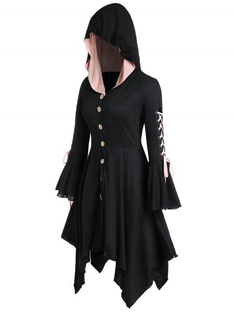 Plus Size Handkerchief Hooded Lace Up Halloween Coat - BLACK 1X