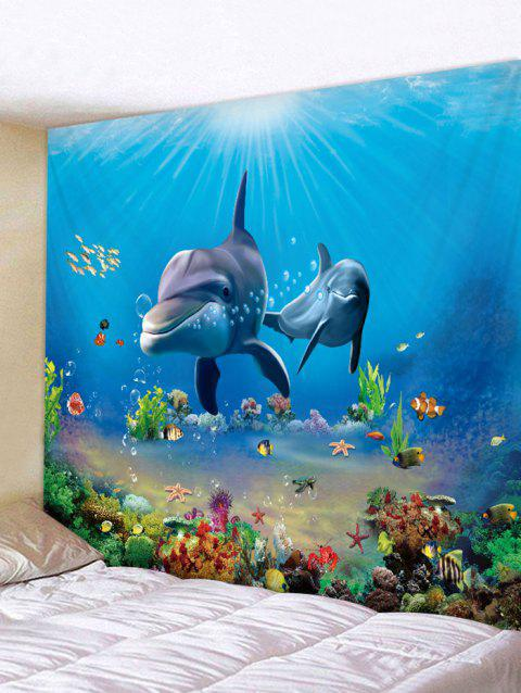 3D Print Dolphin Fish Underwater World Wall Tapestry - OCEAN BLUE W59 X L59 INCH