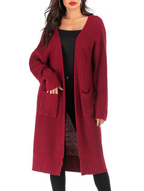 Pockets Solid Open Front Long Cardigan - RED WINE ONE SIZE