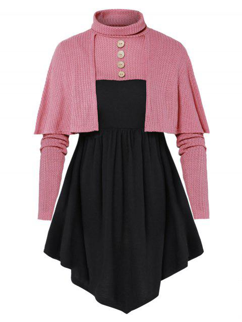 Plus Size High Neck Button Sweater with Solid T Shirt - BLUSH RED L