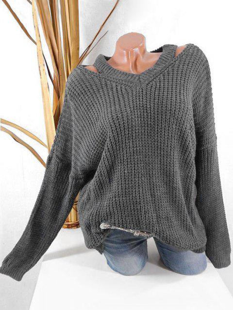 Plus Size Drop Shoulder Cut Out Chunky Sweater - GRAY 3X